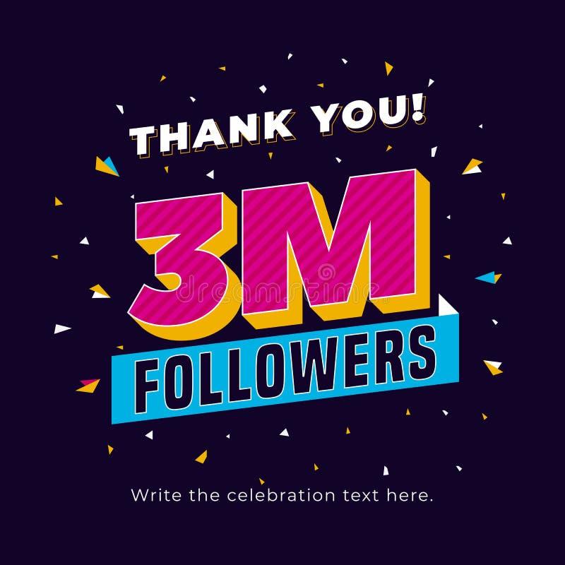 3m Followers, Three Million Followers Social Media Post Background ...