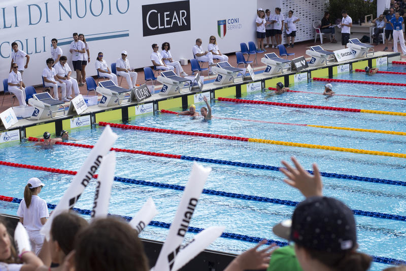 200 M freestyle - FINAL - finish - Woman royalty free stock image