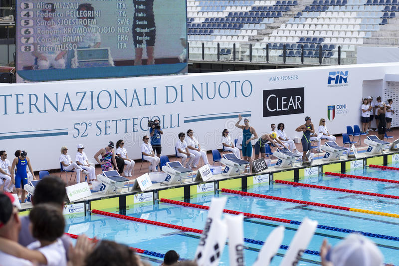 200 M freestyle - FINAL - Start - Woman royalty free stock photos