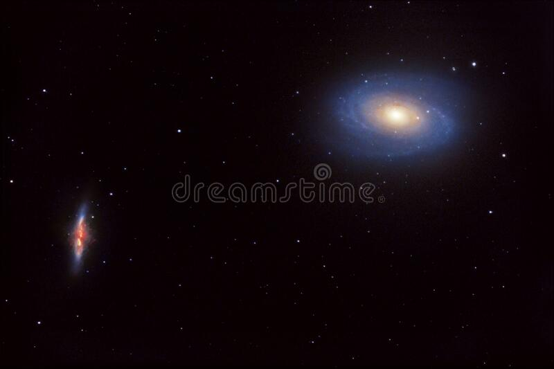 M81 and M82 galaxies in the constellation Ursa Major stock image
