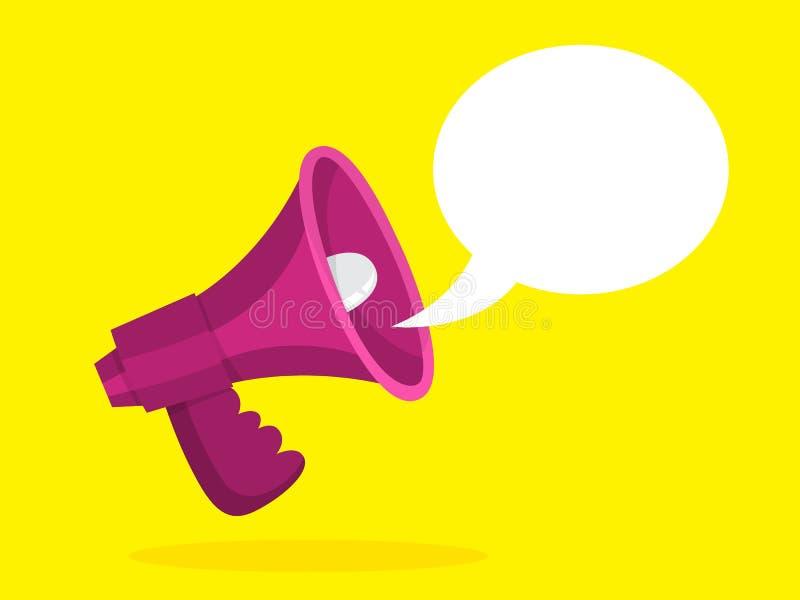 M?gaphone rouge avec une bulle de la parole Annonce illustration stock
