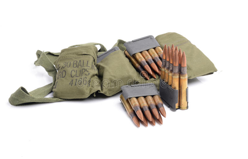 M1 Garand clips, ammunition and bandolier. royalty free stock image