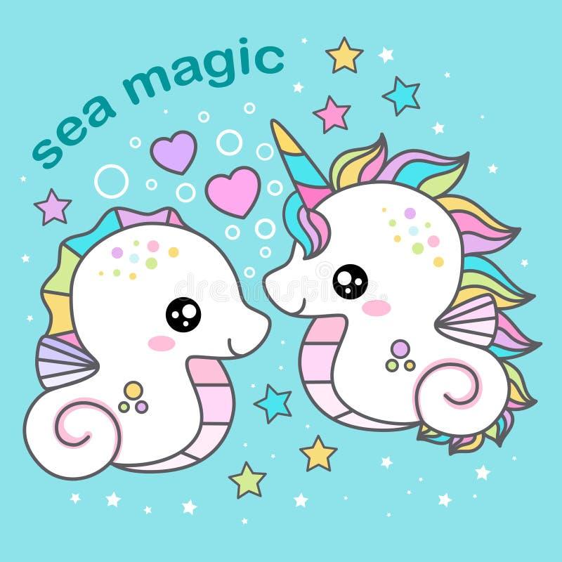 M?gica do mar Beijo do unicórnio e do cavalo marinho com coração Ilustra??o do vetor ilustração stock