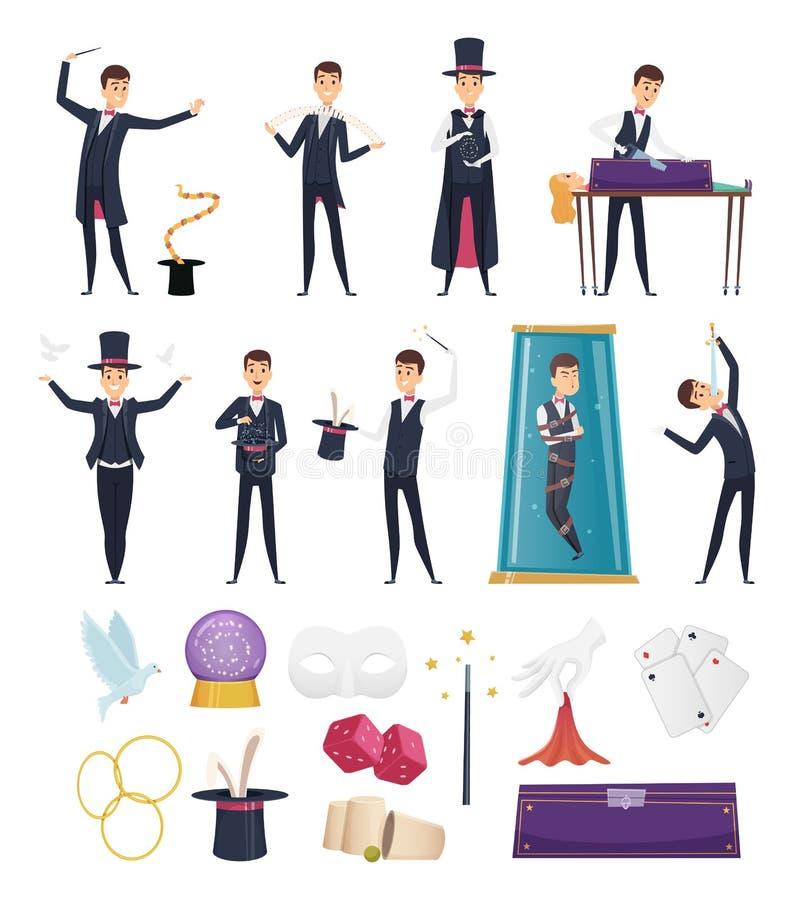 m?gico Executor da mostra no traje e no coelho dos cartões dos artigos dos cartões mágicos da varinha dos lenços do chapéu no vet ilustração do vetor