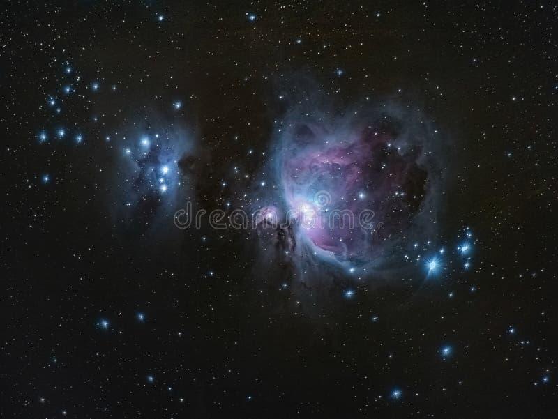 M42 grand Orion Nebula Running Man Nebula photographie stock