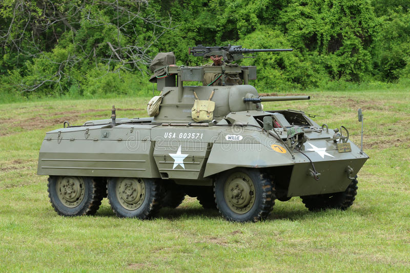 M8 Greyhound armored car from the Museum of American Armor during World War II Encampment. OLD BETHPAGE , NEW YORK - MAY 22, 2016: M8 Greyhound armored car from royalty free stock photography
