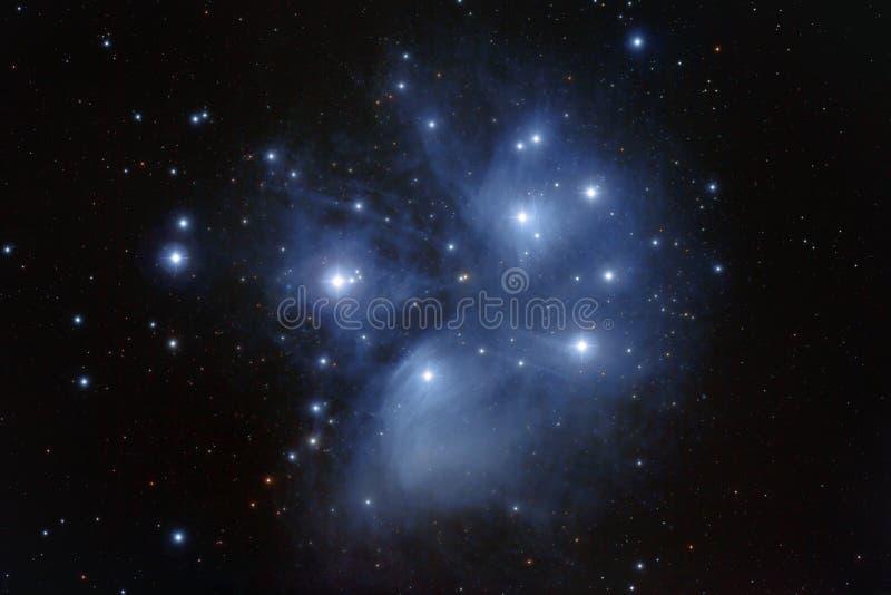 M45 - Groupe d'étoile de Pleiades dans le Taureau photos stock