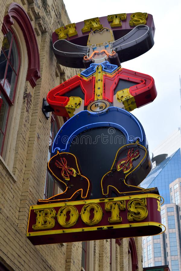 M. Hats Boot Company in Nashville stock foto