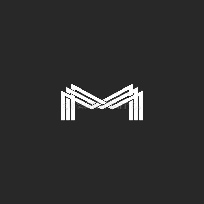 M het embleem van het brievenmonogram, zwart-wit modeladreskaartje of huwelijksuitnodiging, geometrische vorm van dunne kruising  royalty-vrije illustratie