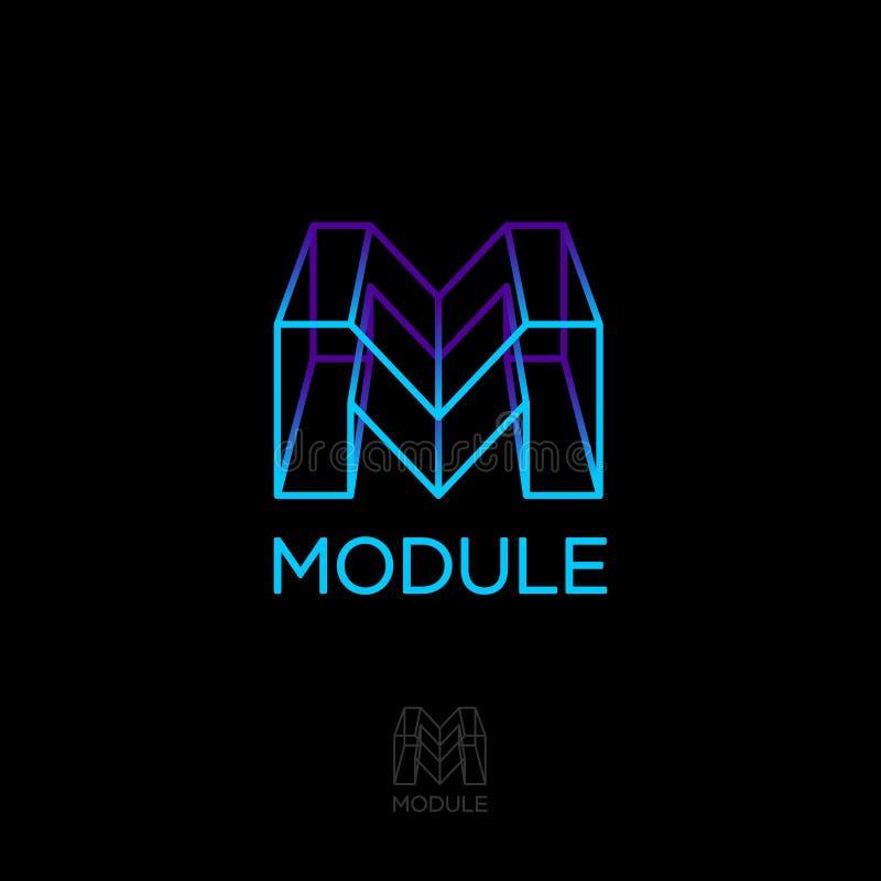 M het monogram, module, bouwt embleem M vakje brief 3D monogram Volume en bouwembleem royalty-vrije illustratie