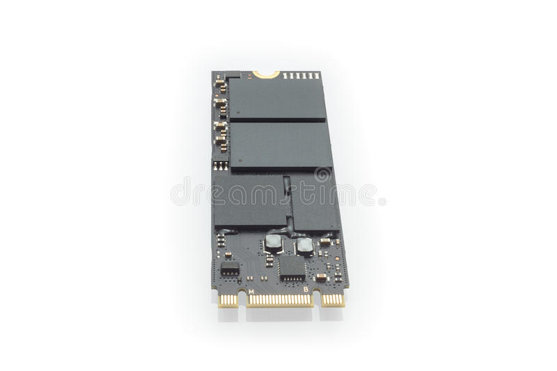 M2 high speed SSD closeup on white background. New type of storage M2 high speed SSD closeup on white background stock photo