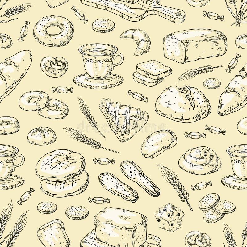 1903 m30 i130 n014 f c06 Teste padrão tirado 250142509 mãos da padaria O pão e os bolos do vintage rabiscam o molde do projeto do ilustração do vetor