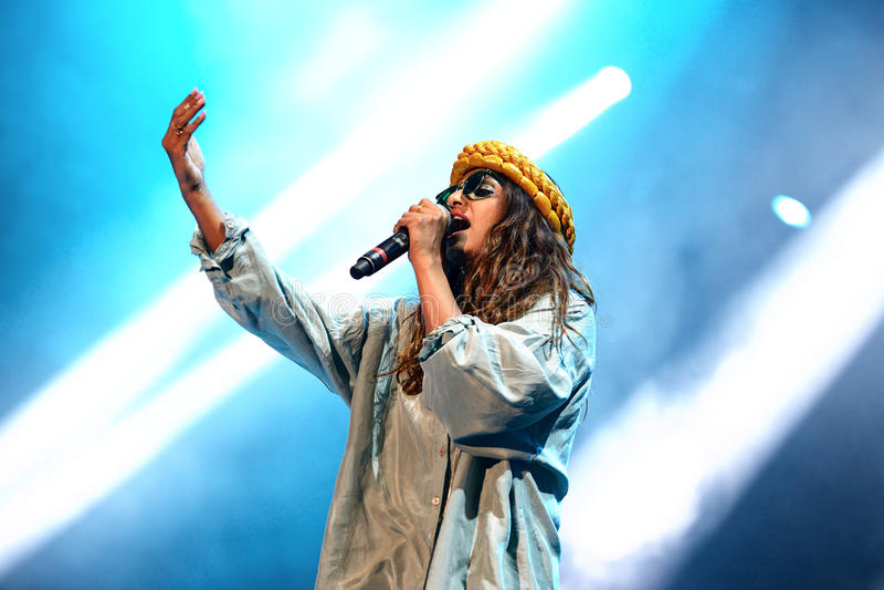 M.I.A., a rapper named Mathangi Maya Arulpragasam, performs at FIB Festival. BENICASSIM, SPAIN - JULY 20: M.I.A., a rapper named Mathangi Maya Arulpragasam royalty free stock image