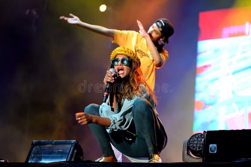 M.I.A., a rapper named Mathangi Maya Arulpragasam, performs at FIB Festival. BENICASSIM, SPAIN - JULY 20: M.I.A., a rapper named Mathangi Maya Arulpragasam stock images