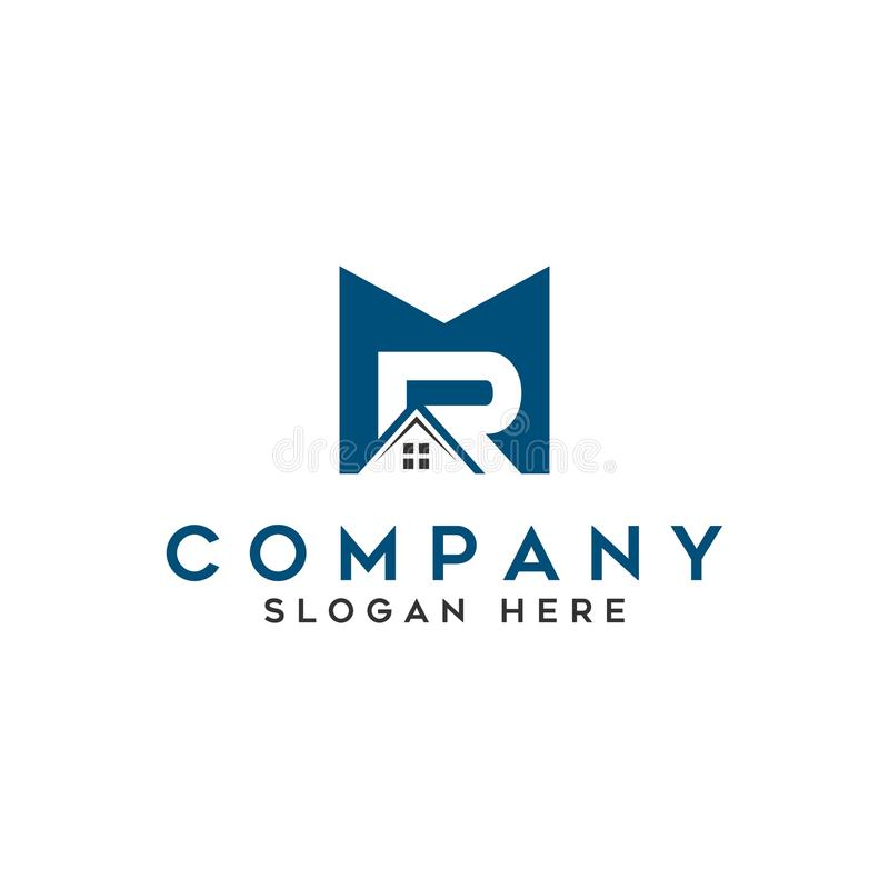 M. immobiliers de maison de toit de `, construction de ` de lettres initiales de logo illustration libre de droits