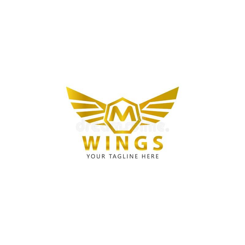 M initial avec le logo d'ailes d'or est une conception moderne illustration de vecteur