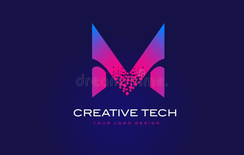 M Initial Letter Logo Design com os pixéis de Digitas no roxo azul ilustração stock