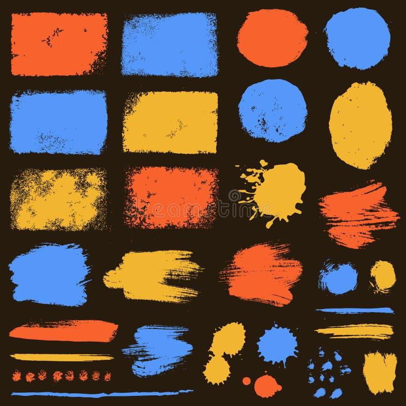 M?la borsteslagl?ngder och grungefl?ckar S?ml?s blom- bakgrund stock illustrationer