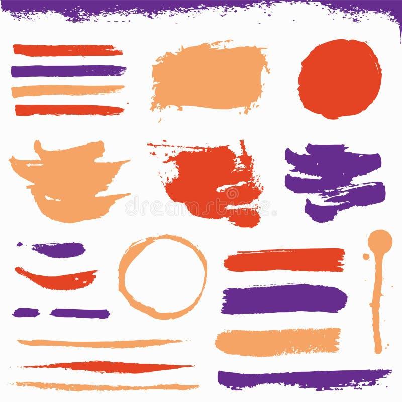 M?la borsteslagl?ngder och grungefl?ckar S?ml?s blom- bakgrund royaltyfri illustrationer