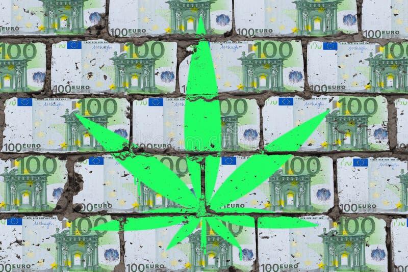 M?lat cannabisblad p? v?ggen av euroet Begrepp f?r hampaaff?rskonst arkivfoto