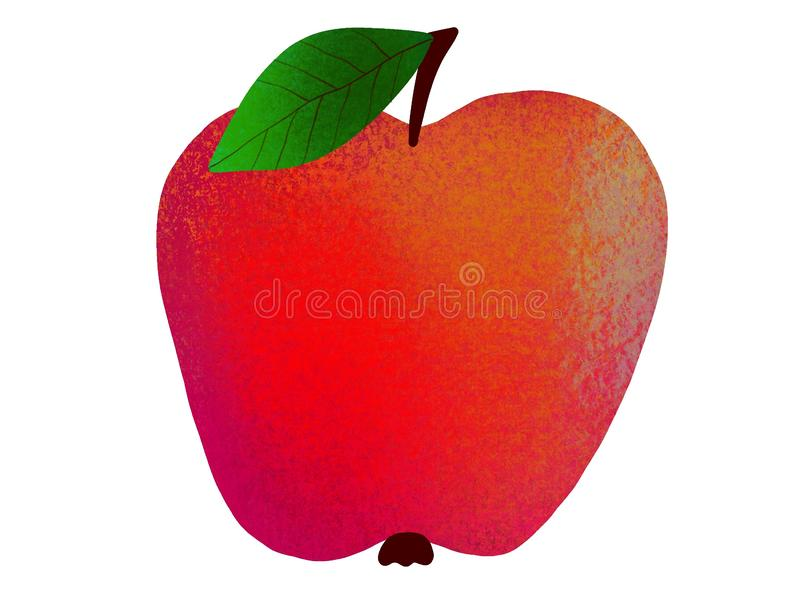 m?lat ?pple Rött saftigt äpple på en vit bakgrund royaltyfri illustrationer