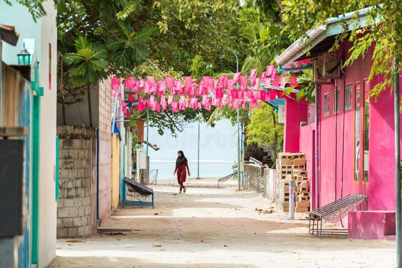 MÂLE, MALDIVES - NOVEMBRE, 27, 2016 : Vue des bâtiments privés Copiez l'espace pour le texte photos stock