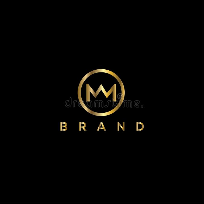 M letter crown vector logo design template stock illustration