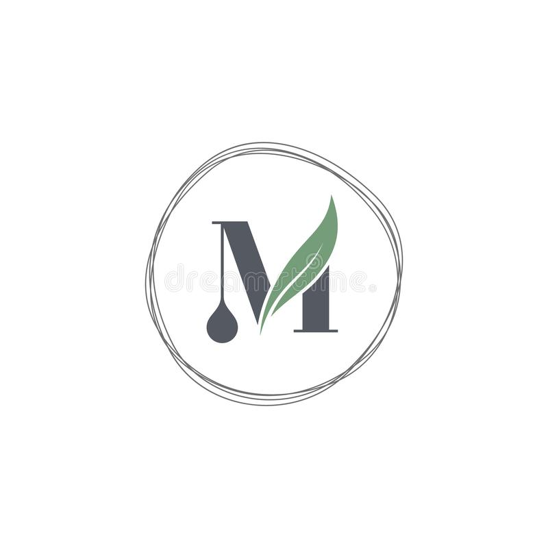 M letter icon logo design with abstract circle swoosh leaf stock illustration