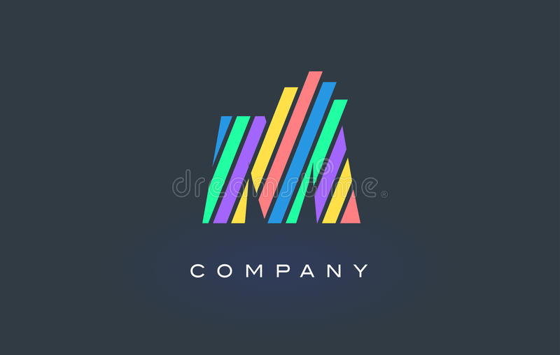 M Letter Logo with Colorful Lines Design Vector. Rainbow Letter stock illustration