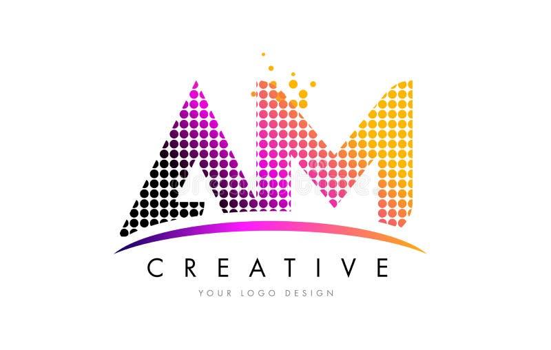 AM A M. Letter Logo Design com pontos magentas e Swoosh ilustração stock