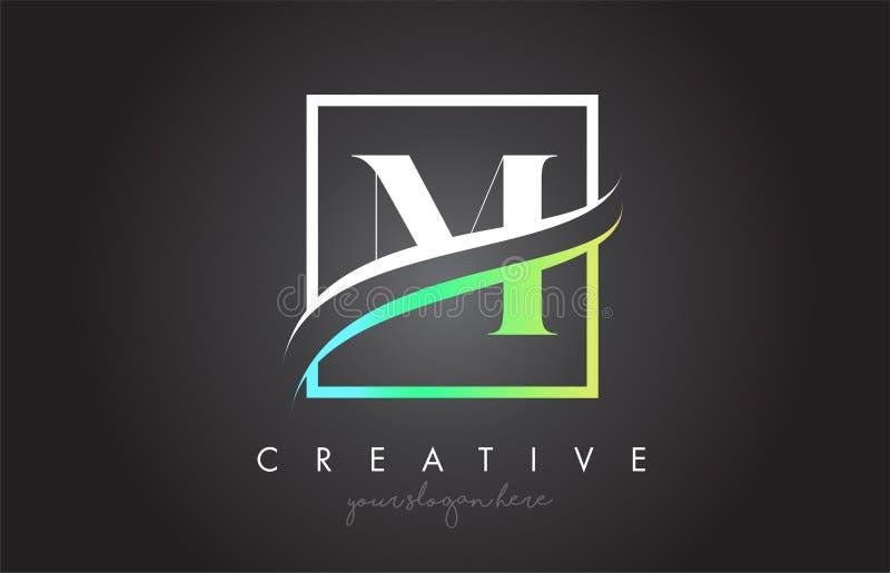 M Letter Logo Design con la frontera de Swoosh del cuadrado y el diseño creativo del icono stock de ilustración