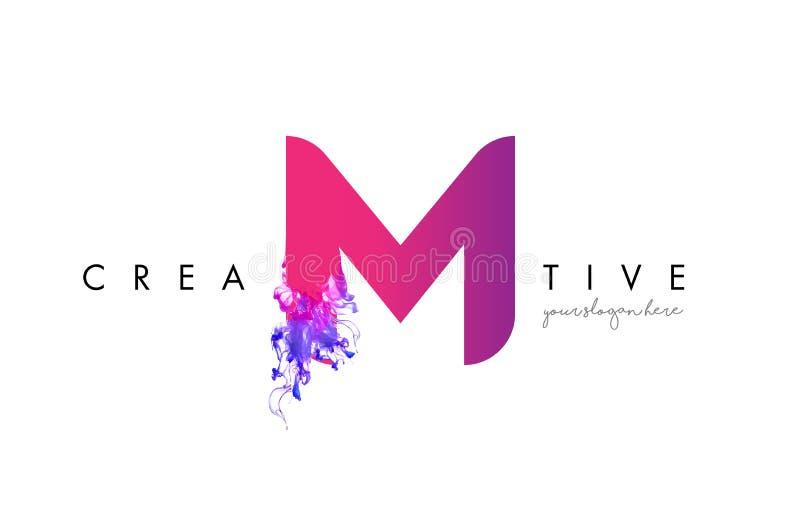 M Letter Logo Design met de Stromende Textuur van de Inktwolk vector illustratie