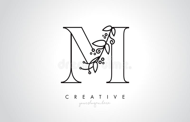 M Letter Logo With Organic Monogram Plant hojea detalle y diseño del círculo Icono creativo de la letra ilustración del vector