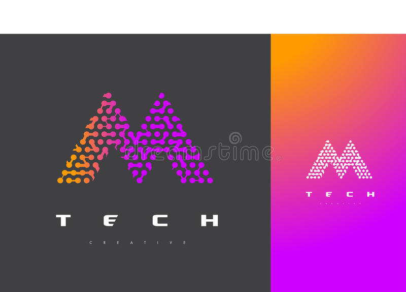 M Letter Logo Technology Verbundener Dots Letter Design Vector lizenzfreie abbildung