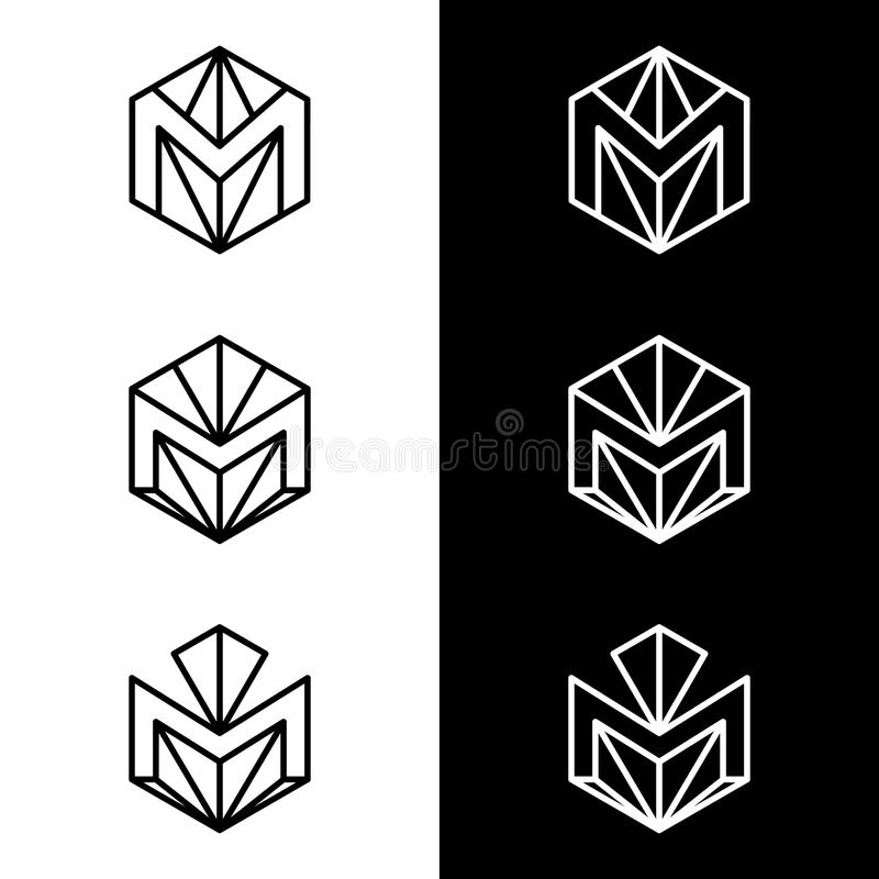 M letter logo vector design. Business logo monochrome icon template. Black and white color symbol isolated on black and white background royalty free illustration