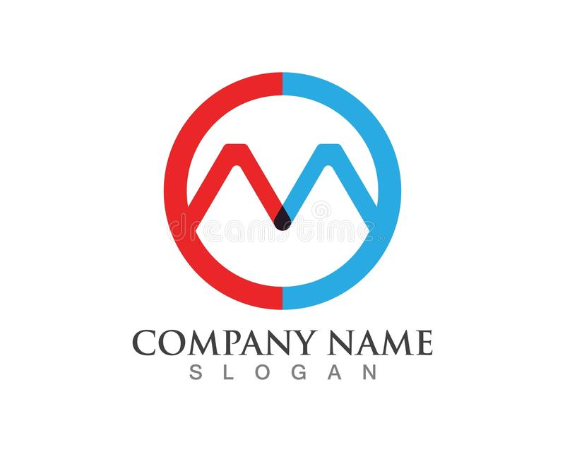 M Letter Mountain Logo ilustração stock