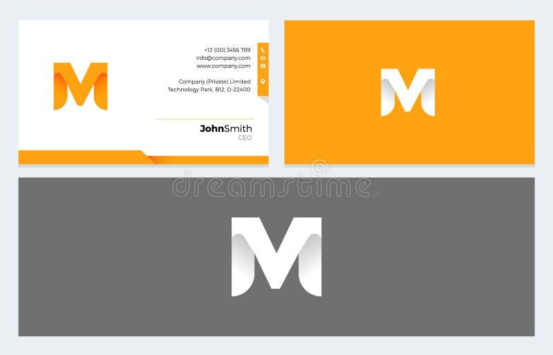 M Letter Origami embleem en Adreskaartjemalplaatje royalty-vrije illustratie