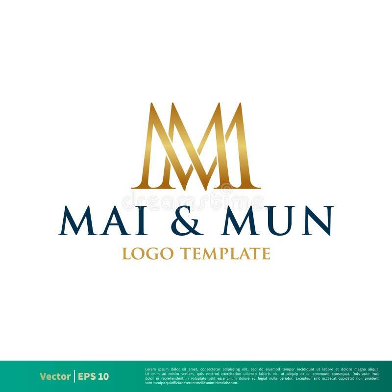 M M Letter Vetora Icon Logo Template Illustration Design Vetor EPS 10 ilustração do vetor