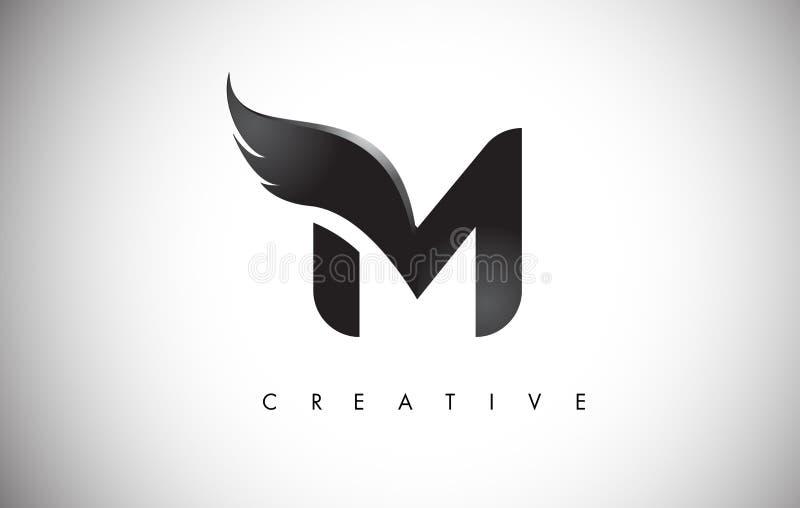 M Letter Wings Logo Design com a mosca preta Wing Icon do pássaro ilustração stock
