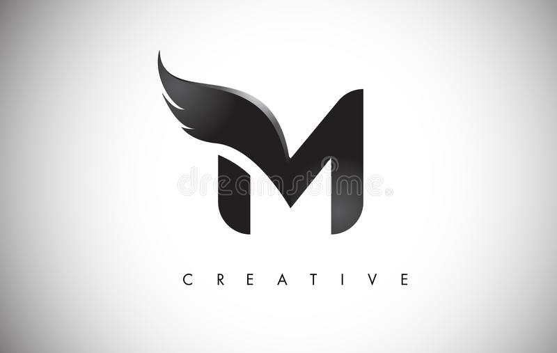M Letter Wings Logo Design with Black Bird Fly Wing Icon. stock illustration