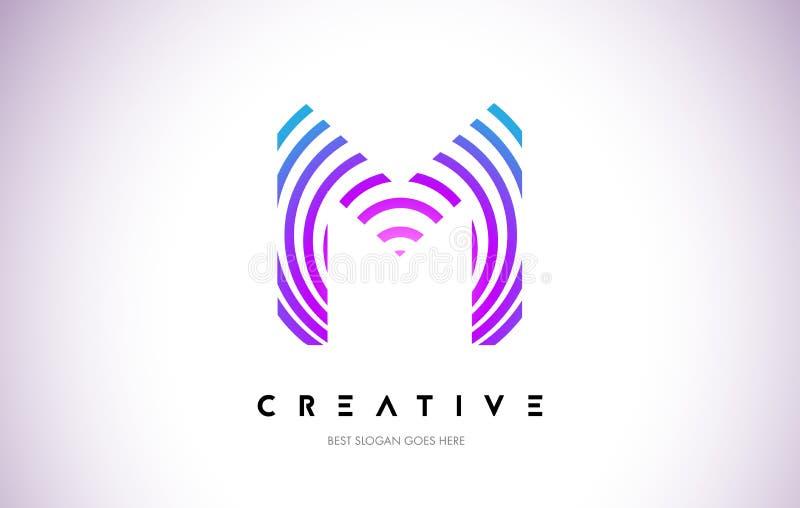 M Lines Warp Logo Design Icono de la letra hecho con la circular púrpura ilustración del vector