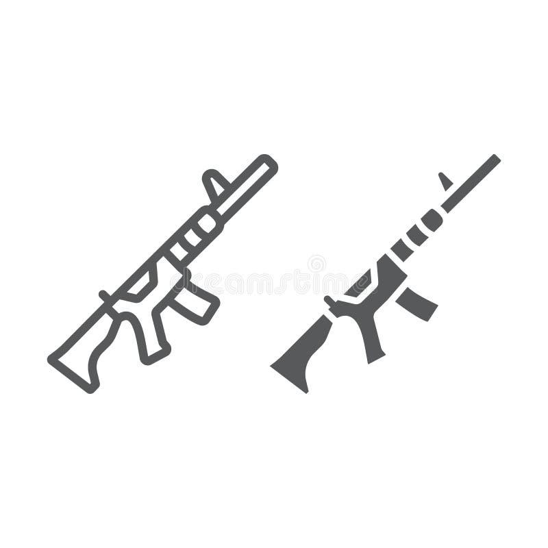 M4A1-Linie und Glyphsymbol, gewehr- und militärisch, automatisches Maschinenzeichen, Vektorgrafiken, ein lineares Muster auf weiß lizenzfreie abbildung