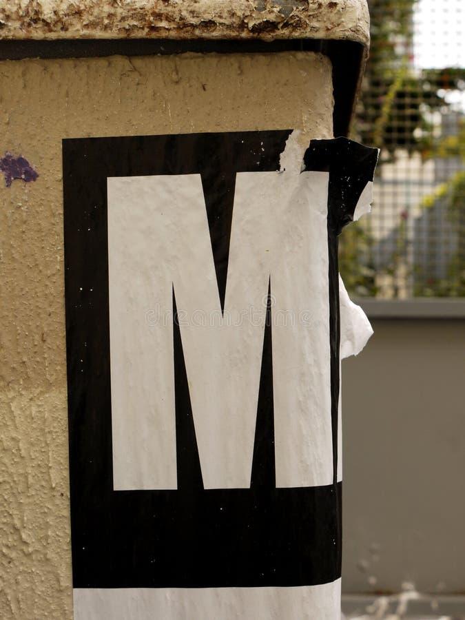 M List od abecadła zdjęcia stock