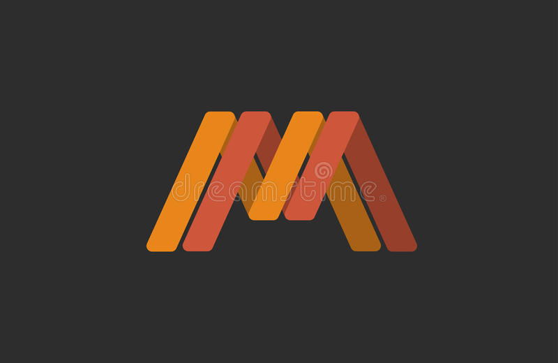 M logo design. Creative . Line vector illustration
