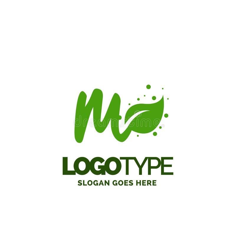 M logo with Leaf Element. Nature Leaf logo designs, Simple leaf. Logo symbol. Natural, eco food. Organic food badges in vector. Vector logos. Natural logos with royalty free illustration