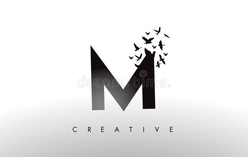M Logo Letter con la multitud de los pájaros que vuelan y que se desintegran de stock de ilustración