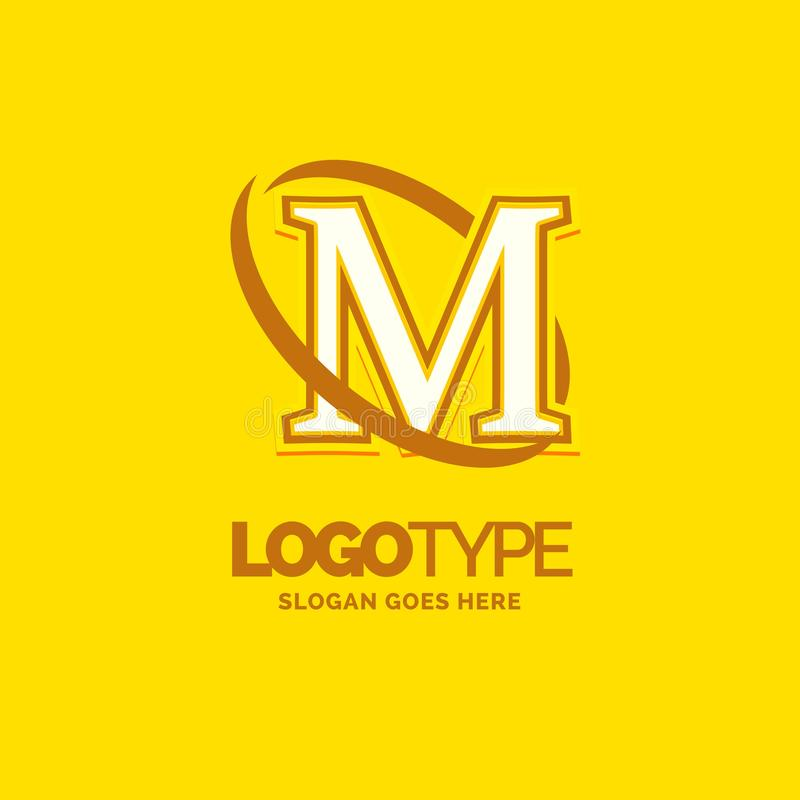 Colorful Company Logo Template With Tagline: M Logo Template . Yellow Background Circle Brand Name