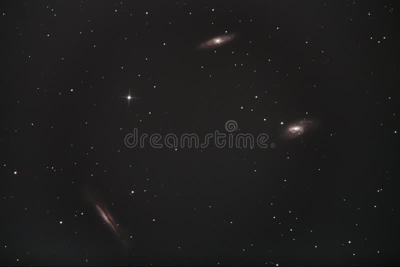 M65, M66 & NGC 3628 - Leo Triplet royaltyfri bild