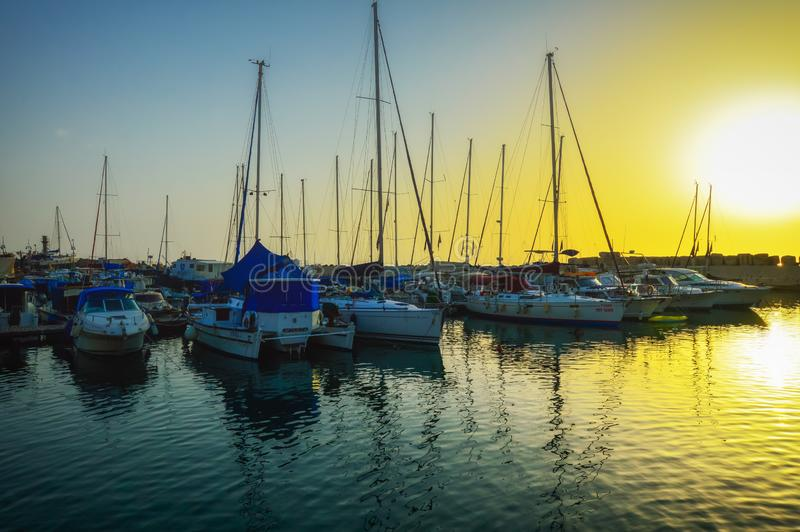 M?me le vieux port de Jaffa au coucher du soleil du jour T?l?phone Aviv Yafo Israel photographie stock