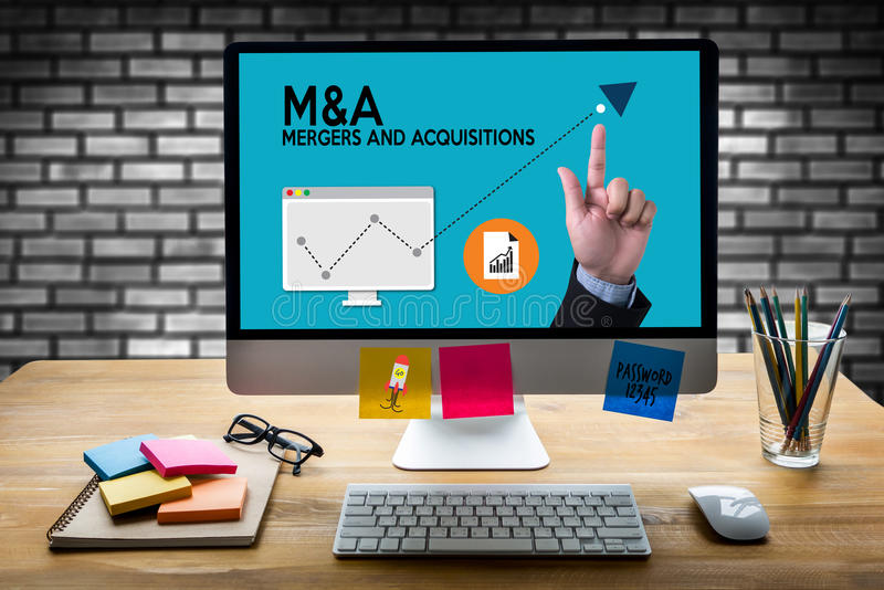 M&A (MERGERS AND ACQUISITIONS) , Mergers & Acquisitions , Busin. Essman working at office M&A stock photos